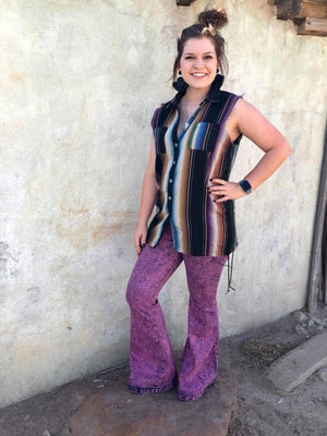 Cut Off Purple Serape Button Up