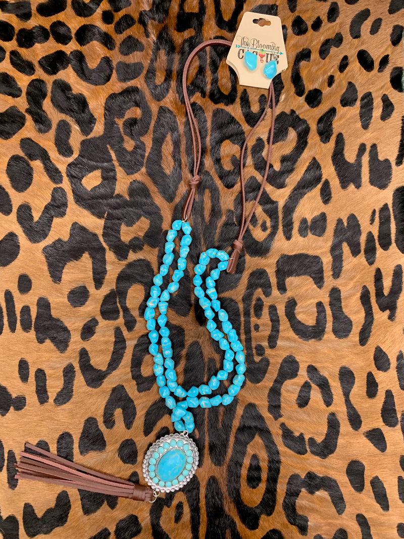 Double Turquoise Tassel Necklace set