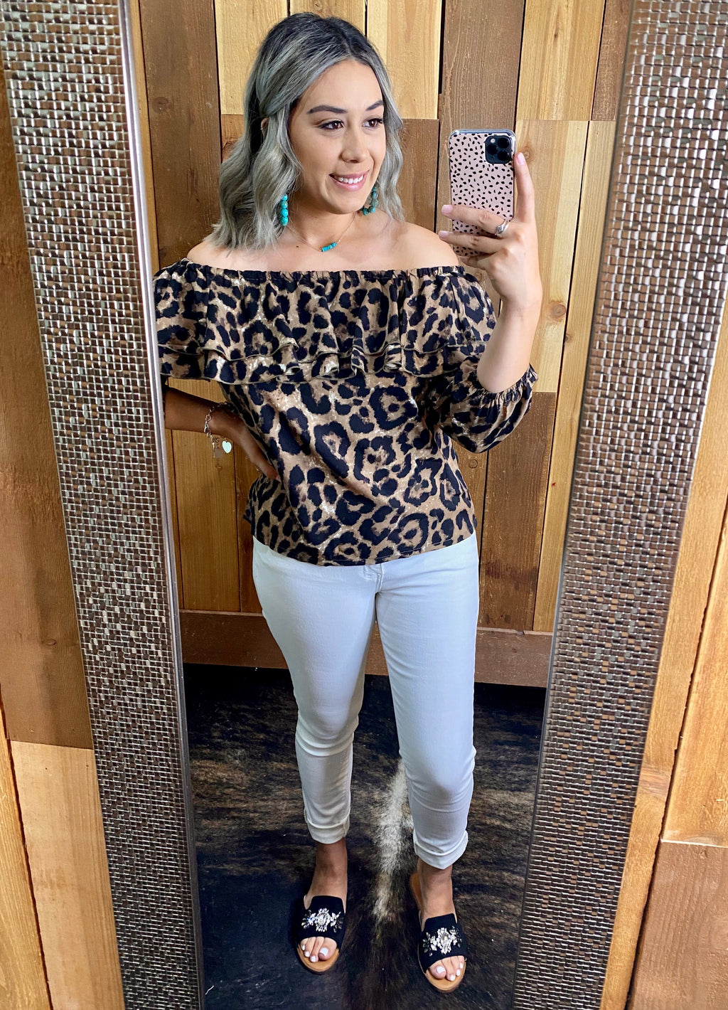 Leopard Off-Shoulder Top