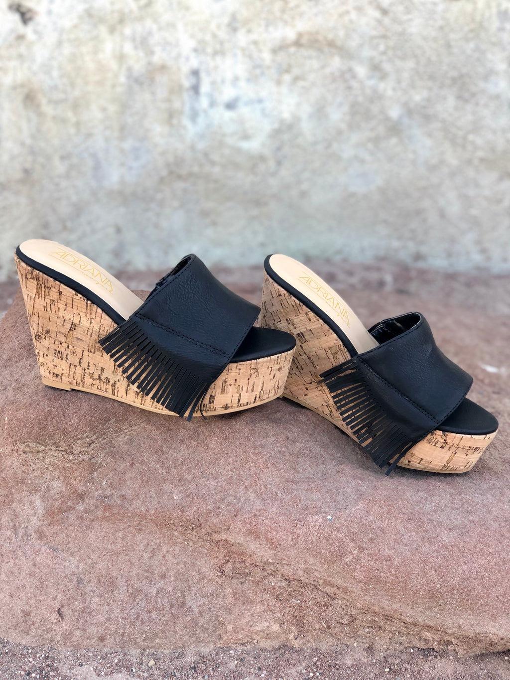 Black Fringe Wedge