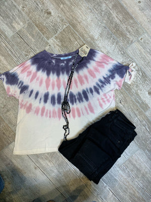 Feathered Tie Dye Top