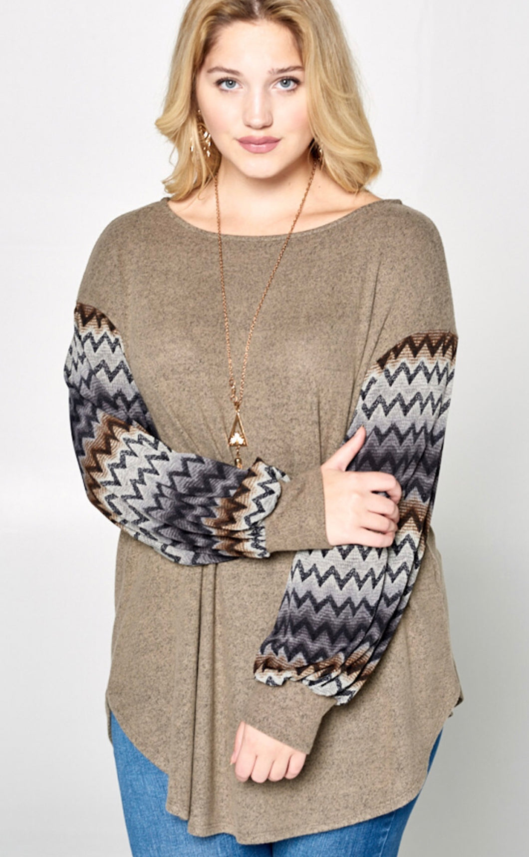Taupe tunic sweater with chevron sleeve