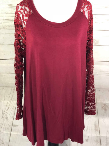 Burgundy Lace Arm and Back Long Sleeve Top