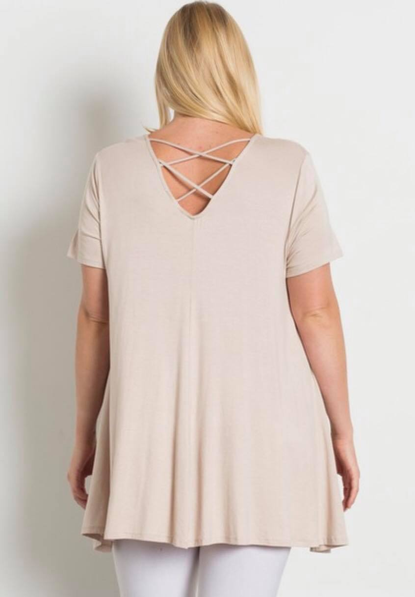 Cream Flowy Top with Crisscross Back