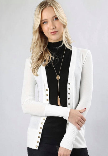 Ivory Button Up Cardigan-Plus