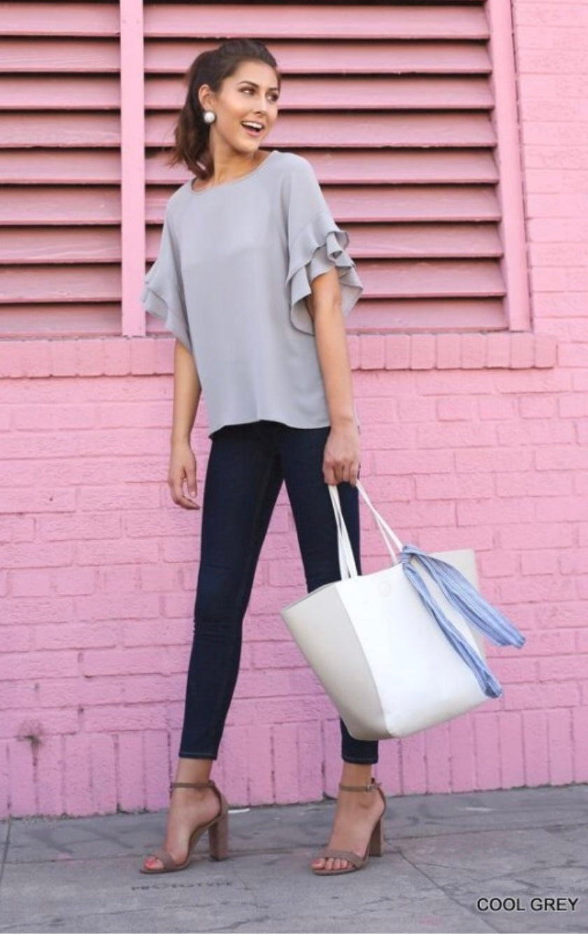 Grey ruffle blouse