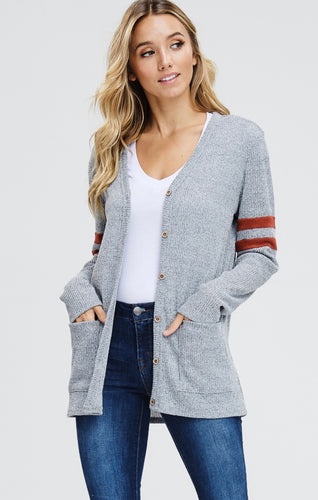Grey long cardigan with rust stripe on sleeve