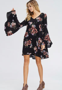 Black floral dress with bell sleeve