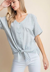 Sage strip tie front top