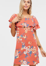 Load image into Gallery viewer, Coral /Floral dress with ruffle detail