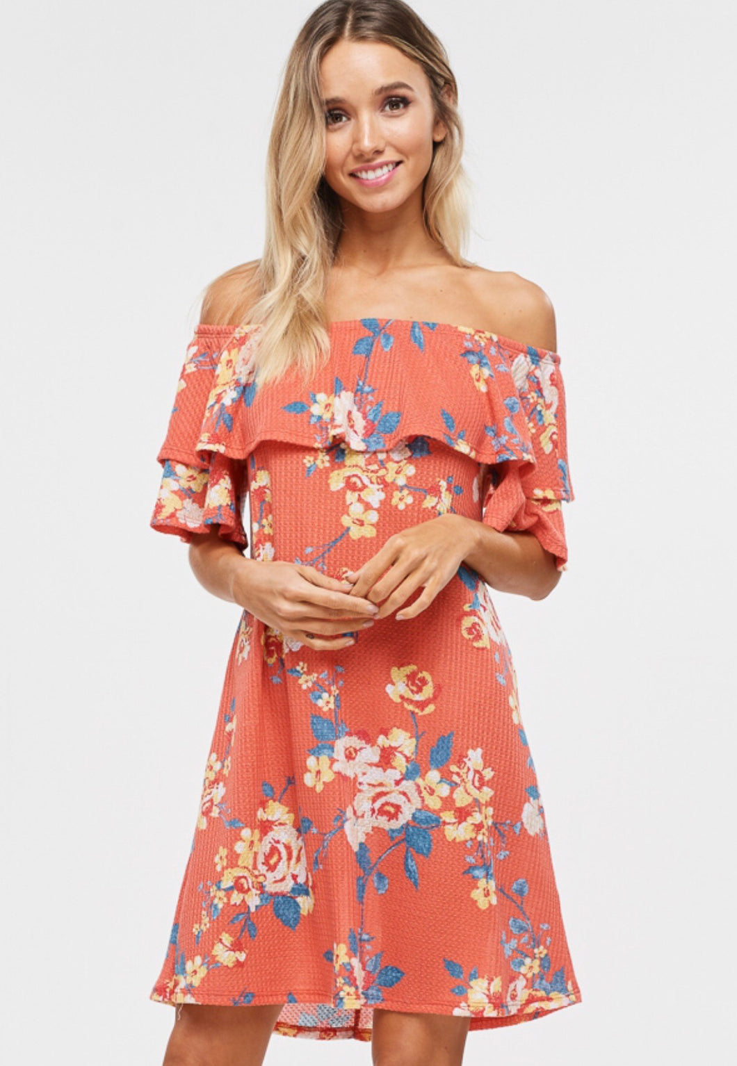 Coral /Floral dress with ruffle detail