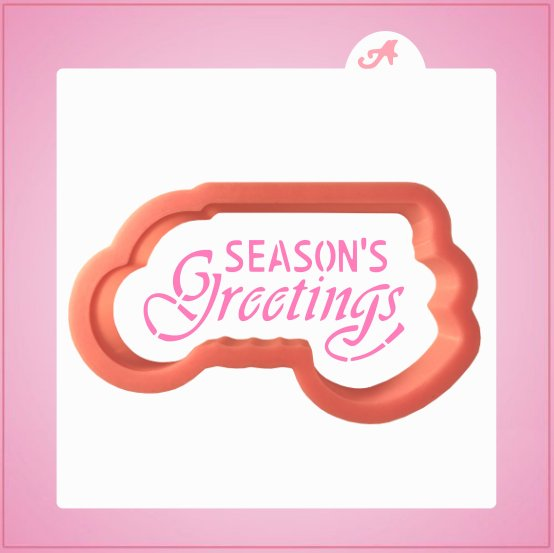 Scrolly Seasons Greetings Cookie Cutter With Stencil