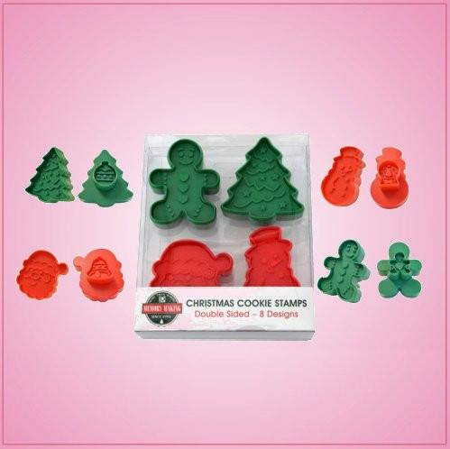 Cookie Cutter Christmas.Double Sided Christmas Christmas Plunger Cookie Cutter Set