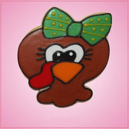 Pink Tara Turkey Girl Head with Bow Cookie Cutter