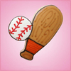 Pink Baseball Bat and Ball Cookie Cutter
