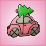 Pink Beetle Car With Tree Cookie Cutter