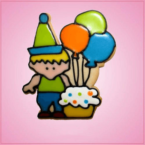Pink Birthday Boy With Balloons Cookie Cutter