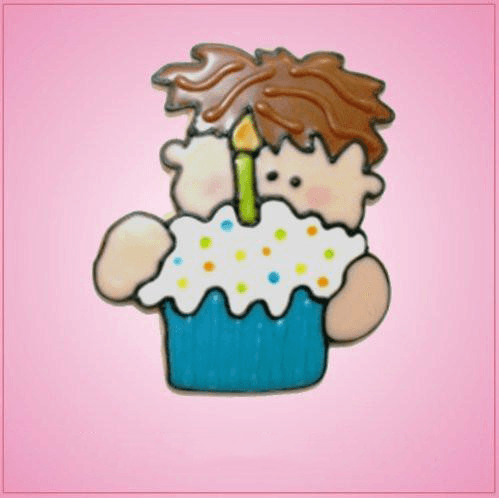 Pink Nicky Birthday Boy With Cupcake Cookie Cutter