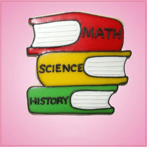 Pink Books Stacked Cookie Cutter