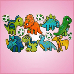 Pink Dinosaur Cookie Cutter Set