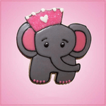 Pink Emma Elephant With Crown Cookie Cutter