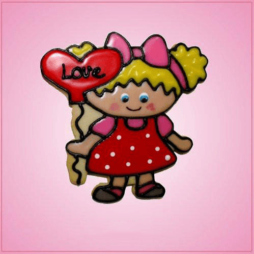Pink Girl With Balloon Cookie Cutter