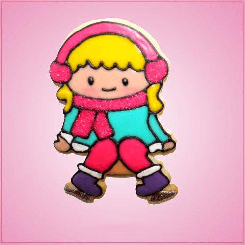 Pink Ingrid Ice Skating Girl Cookie Cutter