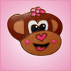 Pink Marcy Monkey With Flower Cookie Cutter