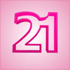 Pink Number 21 Cookie Cutter