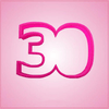Pink Number 30 Cookie Cutter
