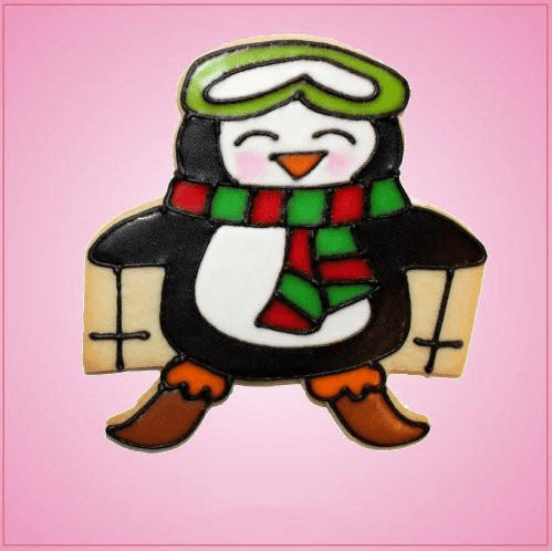Pink Peter Penguin Skiing Cookie Cutter
