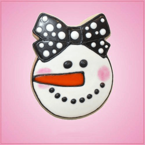 Pink Sarah Snowgirl With Bow Cookie Cutter