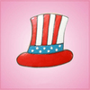 Pink Uncle Sam Hat Cookie Cutter