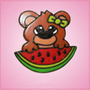 Pink Willow The Shy Bear With Watermelon Cookie Cutter