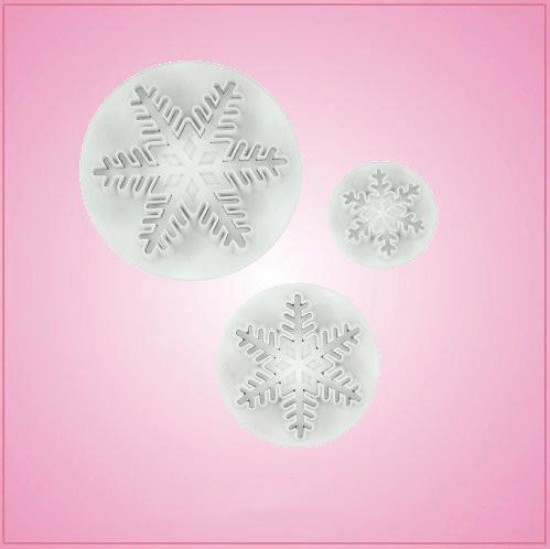 Plunger Style Snowflake Cookie Cutter Set