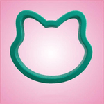 Teal Cat Head Cookie Cutter