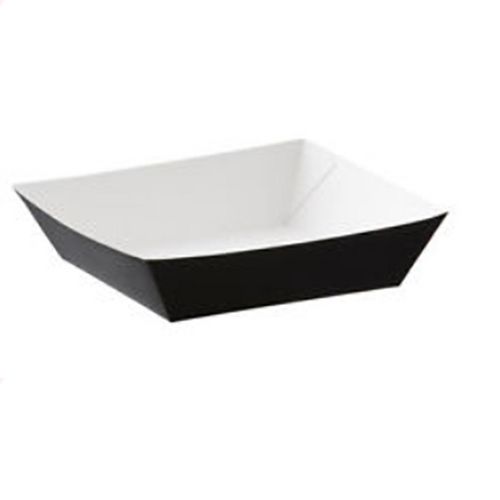 50x 160mm Black cardboard food trays