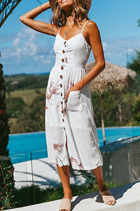 Growing Splendor White Floral Print Maxi Dress