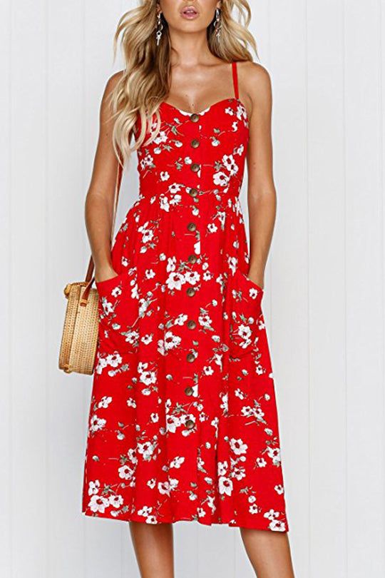 Love Passion Red Floral Dress