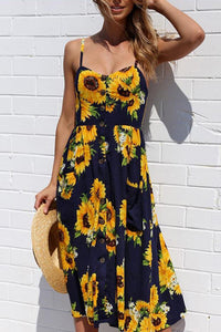 Bright Sunflower Print Dress