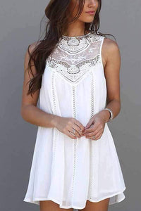 Splice lace Sleeveless Mini Dress