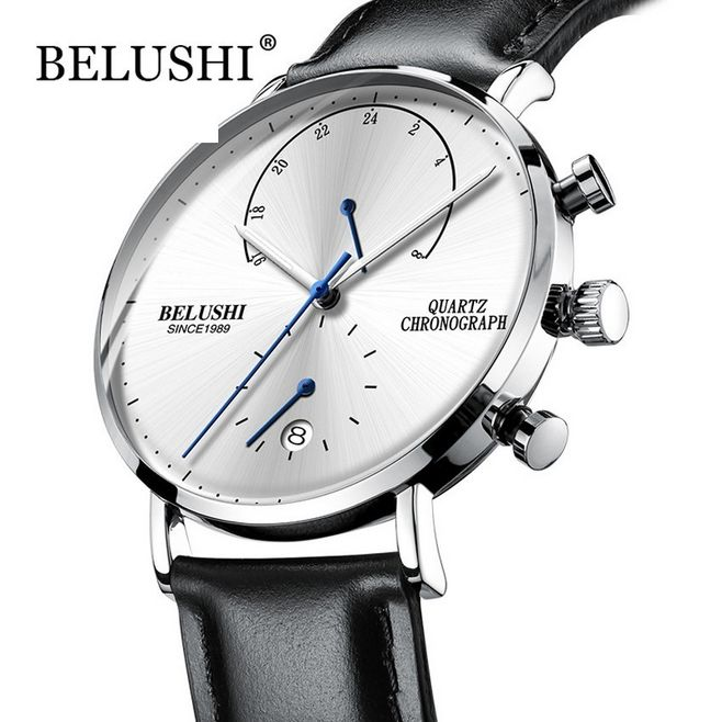 Mens Waterproof Watches Leather Strap Slim Quartz Casual Business Mens Wrist Watch Top Brand