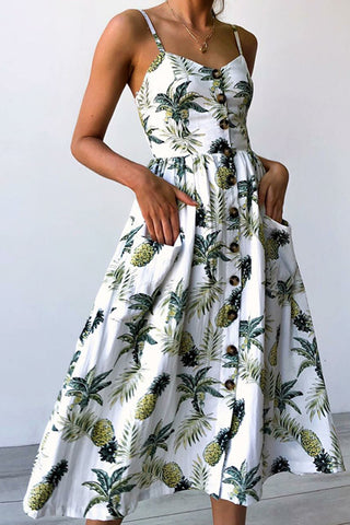 Elegant Woman Fresh Air Print Dress