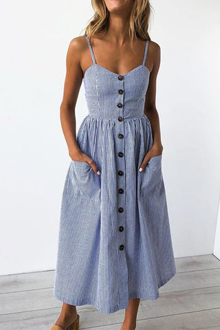 With Pride Blue Stripe Maxi Dress