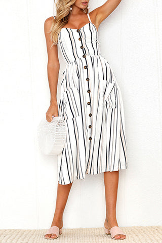 Pocket Striped Maxi Dress