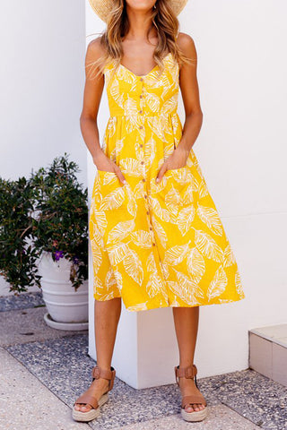 Light It Up Yellow Print Dress