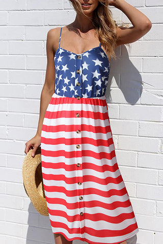 Trendy Sleeveless Star Print Striped Mini Dress