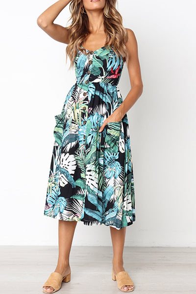 Go Out In Style Turquoise Tropical Print Dress