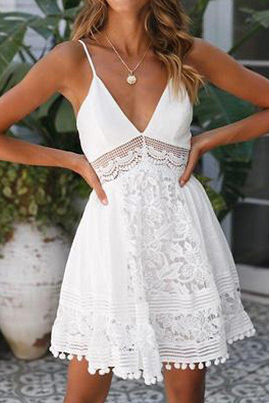 V-Neck Find My Feet Lace Dress
