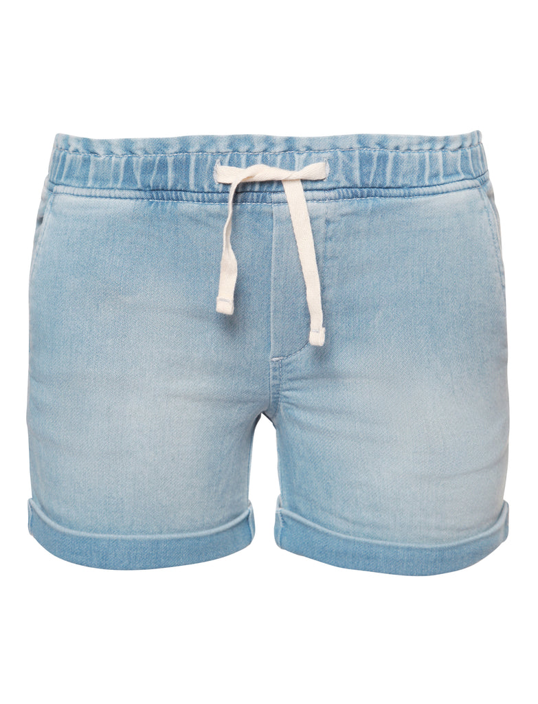 Elastic Drawstring Denim Shorts